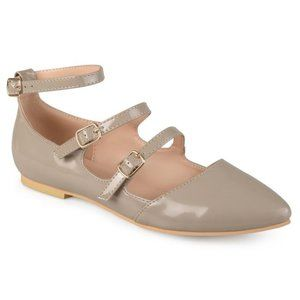JC | Journee Collection 3 Strap Tan/Pink Flats